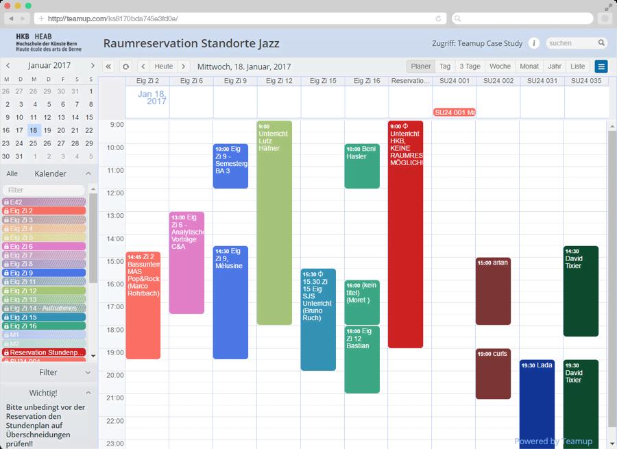 Raumreservation: Planer Ansicht (Scheduler View)